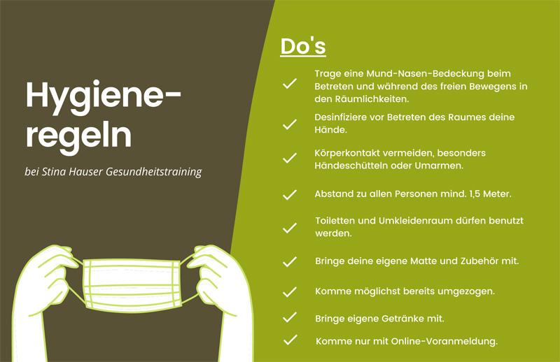 Hygieneregeln Stina Gesundheitstraining Karlsruhe